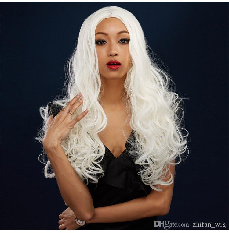Z&F White Wigs For Cheap 26inch Beige White Wig Halloween Cosplay For Costume Fashion Black Women Lady