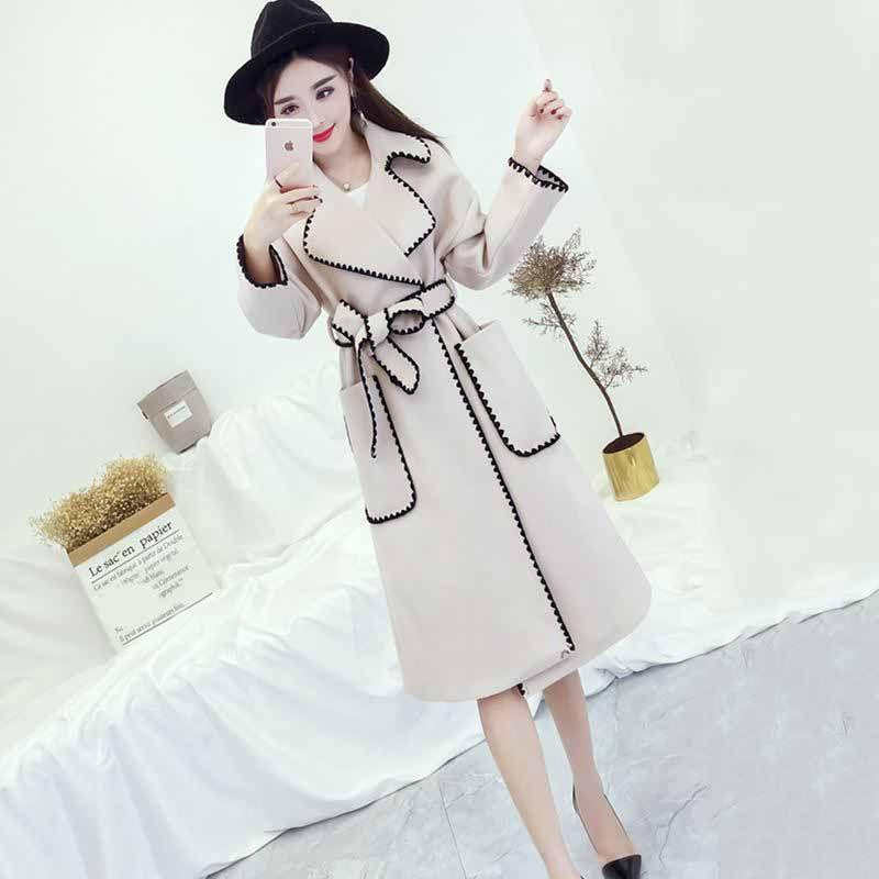 Autummn Корейский Новая мода куртка черный хит цвет с длинным рукавом отложным воротником женское пальто с поясом FA18101M