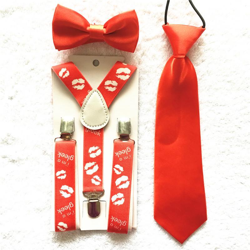 2704f040a79 Red Color Kids Boys Girls Toddlers Bow Tie Necktie Suspenders Bowtie Set  Elastic Adjustable School Party Clothing Accessories Teddies Suspenders For  Women ...