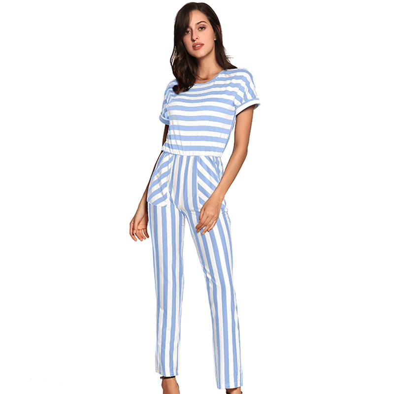 ec82b45f015 2019 Short Sleeve Summer Rompers Womens Jumpsuit Blue Striped Playsuits  Ladies Casual Elegant Fashionable O Neck Combinaison Femme From Vikey06
