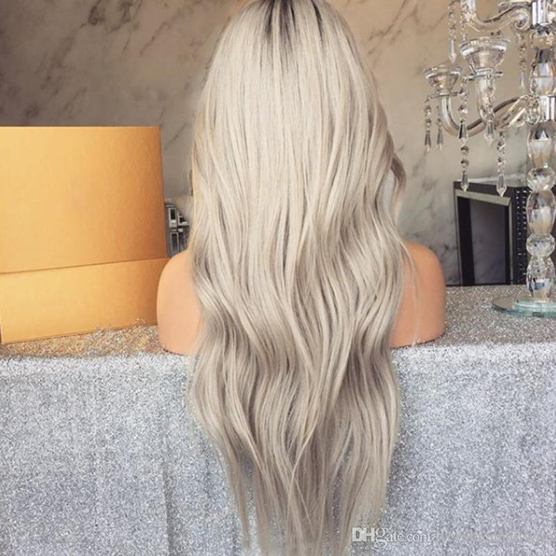 New Cosplay 180% Density Long Body Wave Wigs Ombre Gray Lace Front Wigs With Baby Hair Glueless Heat Resistant Synthetic Wigs For Women