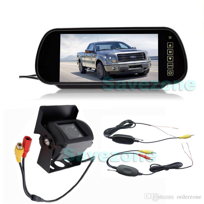 Wireless CCD 18 IR LED Night Vision Waterproof Reversing Backup Camera 7  LCD Monitor Mirror Car Rear View Parking Assistance Kit