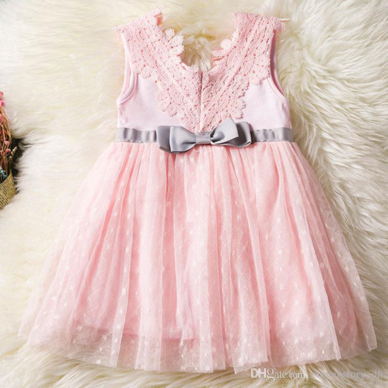 Dantel çiçekler Kız elbise yaz yay giyim çocuk parti / düğün tutu bebek Kolsuz elbise, R1AA802DS-08, [ElevenStory_dh]