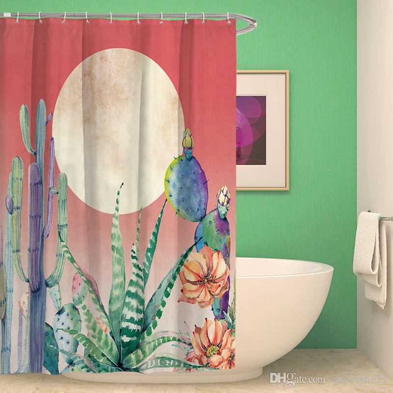 2018 Watercolor Cactus Succulents Printed Shower Curtain Polyester ...