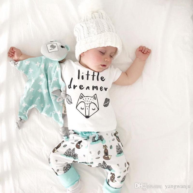 2a66876a3c8f 2019 2018 Summer Newborn Baby Boy Girl Clothes Set Little Dreamer ...