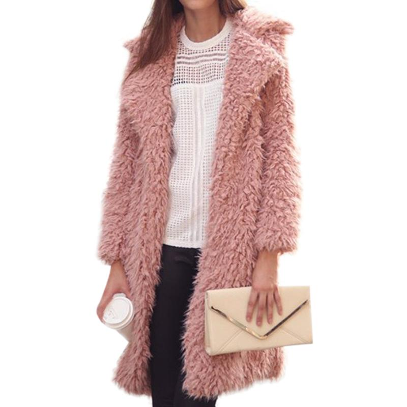 2017 Winter Women Fur Coat Women's Jacket Faux Fur Coat Female Lamb Wool Coat Pink Overcoat Long Sleeve Cardigan Outwear Casaco