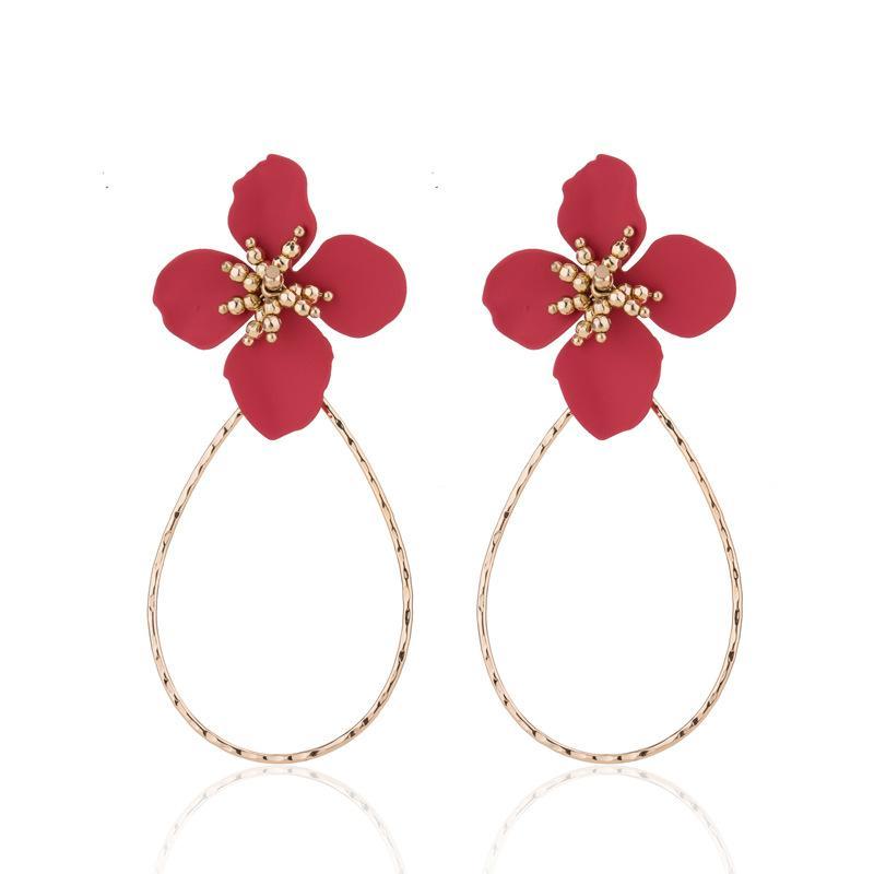 2019 Red White Painting Flower Stud Earrings Water Drop Shape Big