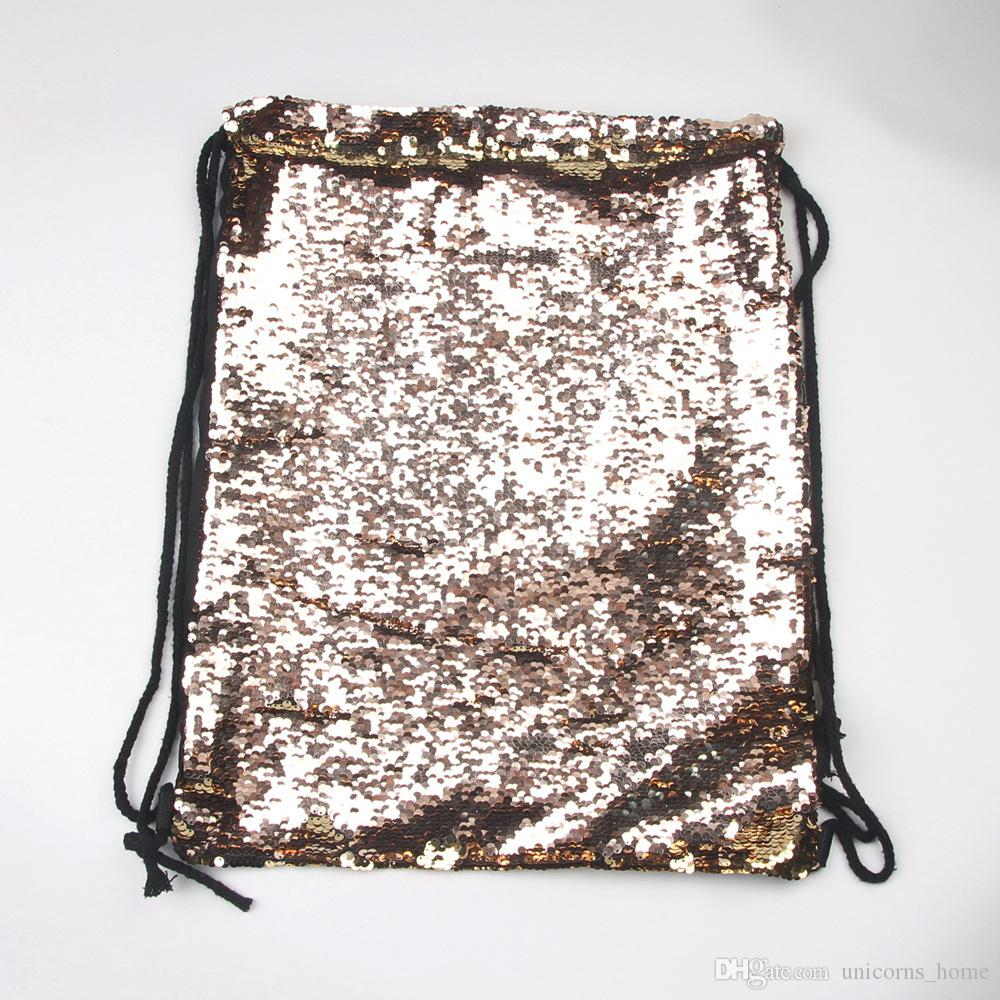 Mermaid Pullu Sırt Çantası Sequins İpli Çanta Geri Dönüşümlü Madeni Pul Açık Sırt Çantası Glitter Spor Omuz Çantaları Saklama Çantası CNY187
