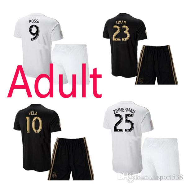 hot sale online 32458 7d71c 2018 Los Angeles away white Adult kit 18 19 LAFC ROSSI home Adult Vela Thai  Quality Soccer Shirts tops GABER Soccer Jerseys+shorts