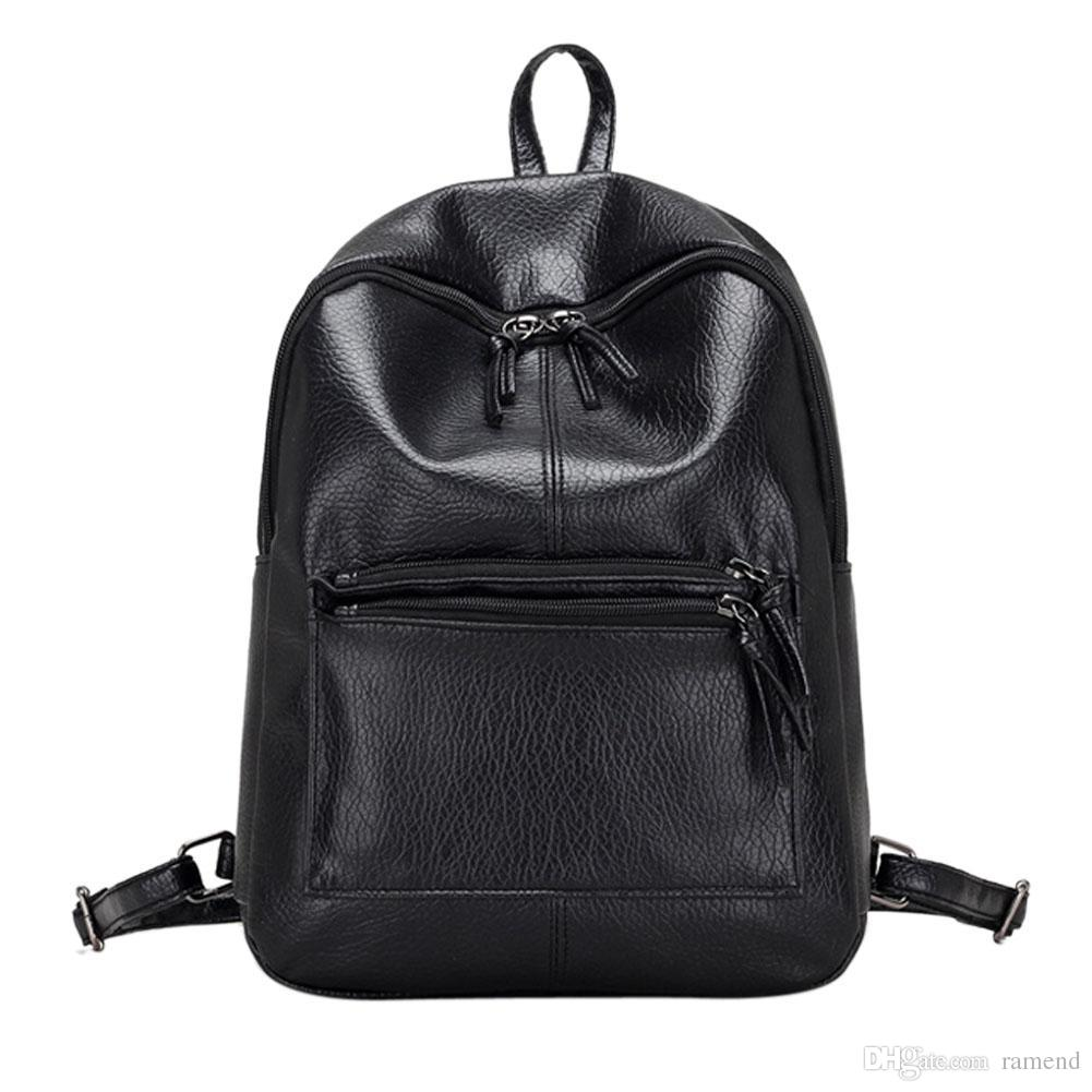 Wholesale New Fashion Casual Women PU Leather Backpack Black Solid Retro  Vintage Backpack Girls School Bags Ladies Travel Leisure Bags Black Leather  ... 2d78246b9ba4c