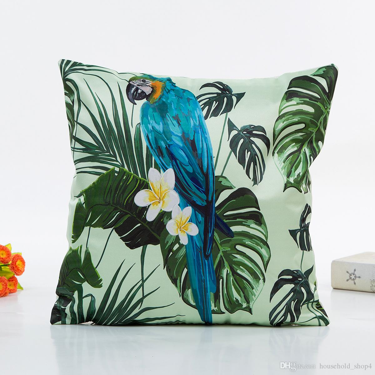 Cushion for summer green plants tropic leaves pillow case hawaii print digital print pillow home decor sofa cushion cover
