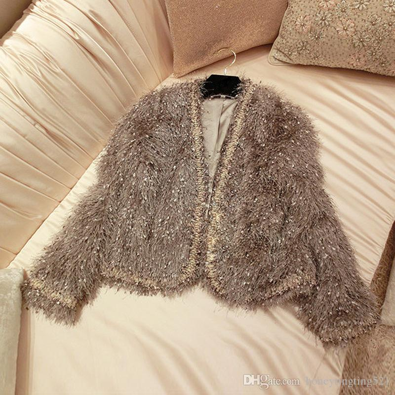 Autumn New design fashion women's v-neck long sleeve elegant fau fur wool tassel fringe lurex warm short coat jacket casacos XSSML