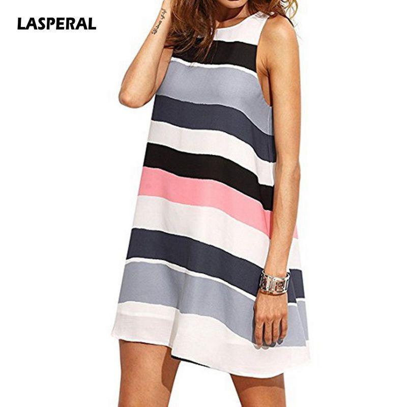 2f1cae2337 LASPERAL Cotton Linen Striped Summer Dress 2018 New Fashion O-Neck Women  Sleeveless Casual Boho Beach Sundress Loose Women Dress