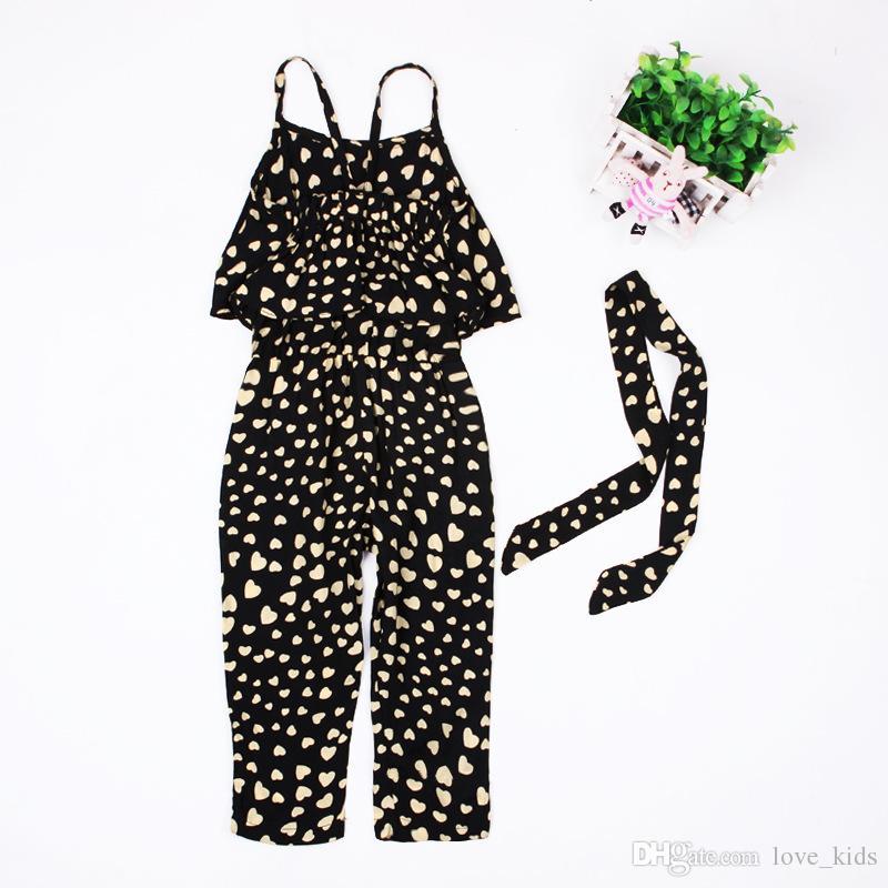 Summer shorts girl clothes kids Girls harness heart-shaped +belt clothing set kids summer Jumpsuit clothes