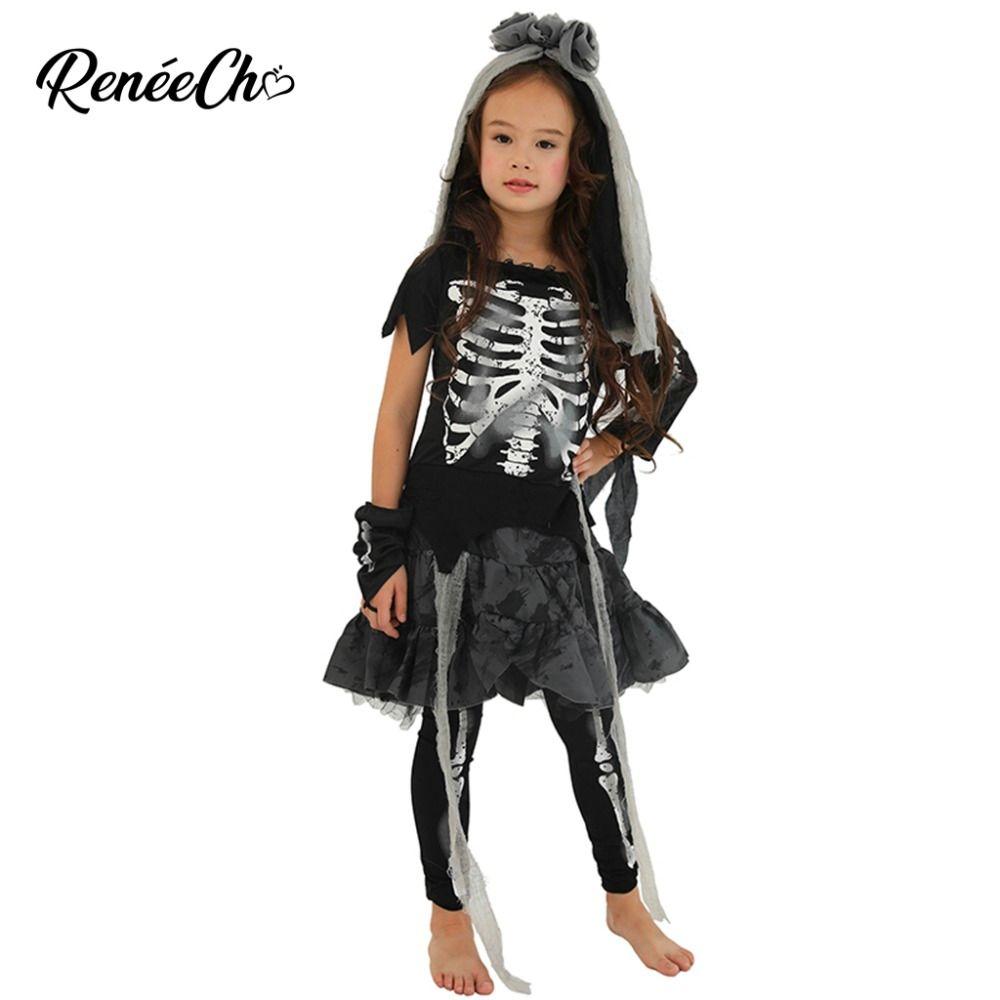 27ef72a93 Disfraces de Halloween Para niños disfraces disfraces Niñas Esqueleto  Disfraz de Huesos Infantiles Niña Fantasma Negro Vampiro Cosplay