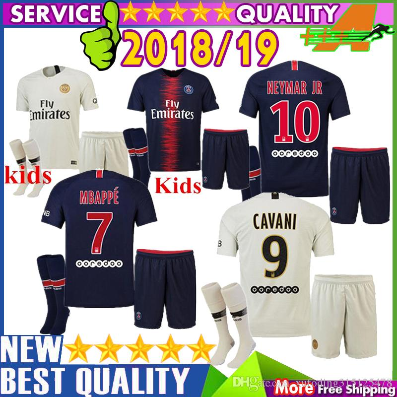 big sale 2774a b8a94 Mbappe kids psg soccer jersey 2018 children Di Maria football sets Verratti  David Luiz t Silva psg 18 19 boy football kits