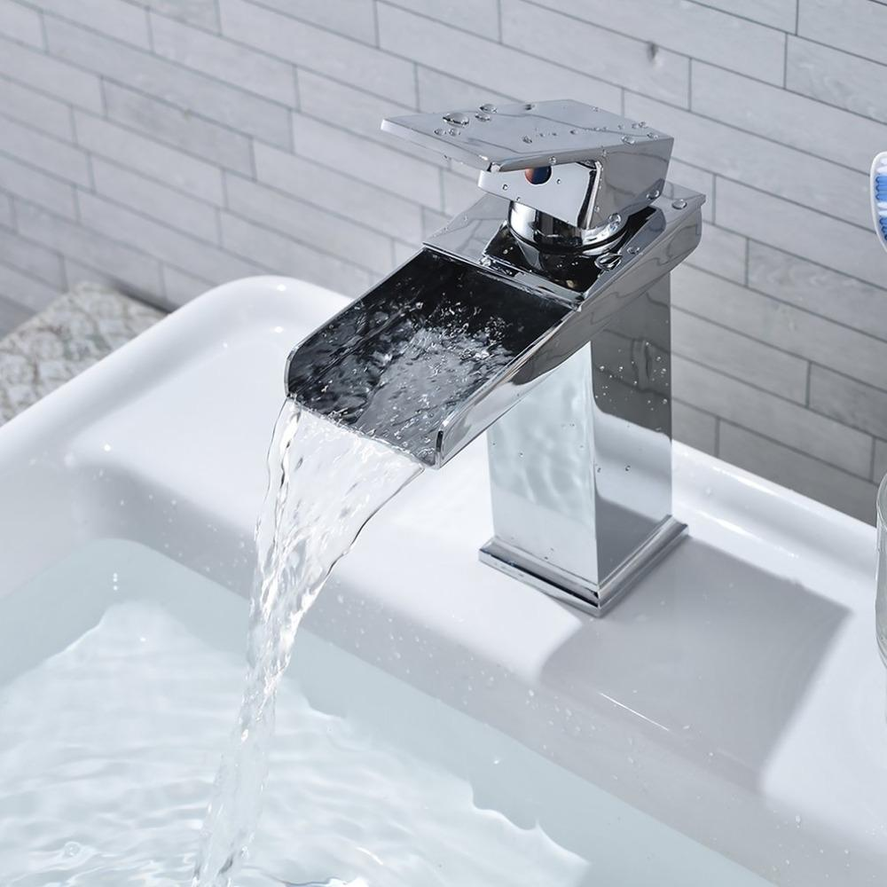2018 Square Waterfall Faucet Tap Sink Chrome Plating Polished ...