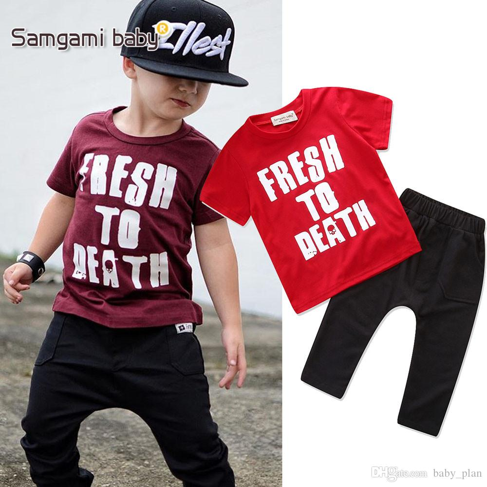 2018 Baby Clothes Ins Suits Boys Summer T Shirts Shorts Pants Letter Print Tops Casual Shirts Pants Short Sleeve Kids Clothing Outfits