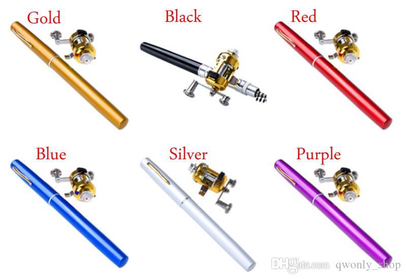 Mini Portable Pocket Fish Pen Lega di alluminio Canna da pesca Pole Reel Pocket Pen Canna da pesca Pole Bobina Combo i