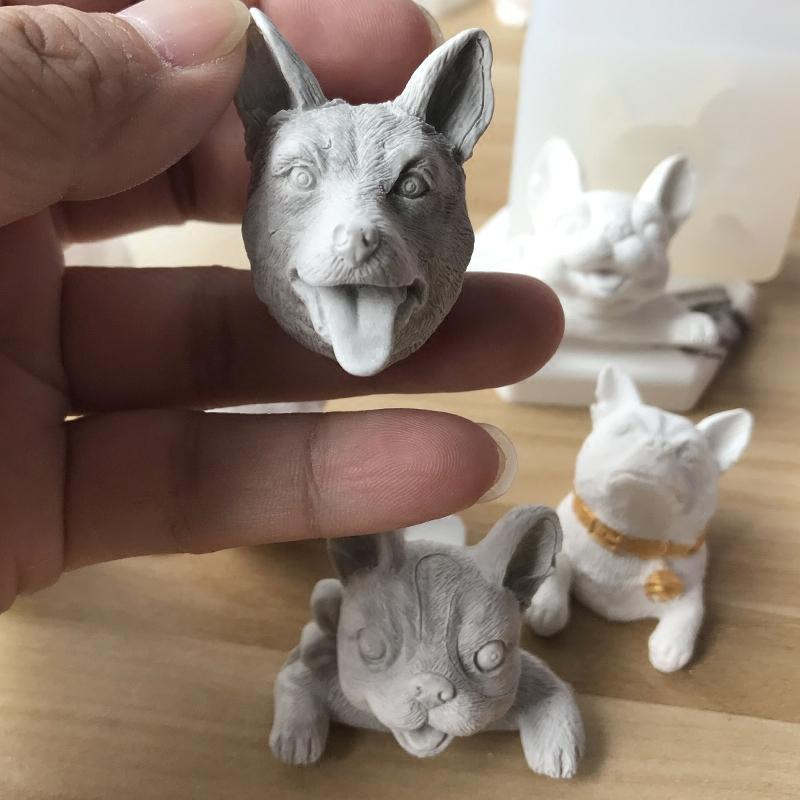 dededbd43 Silica gel Silicone mold South Korea 3D aroma wax mini Husky cute dog molds  aroma stone mold candle molds soap making moulds