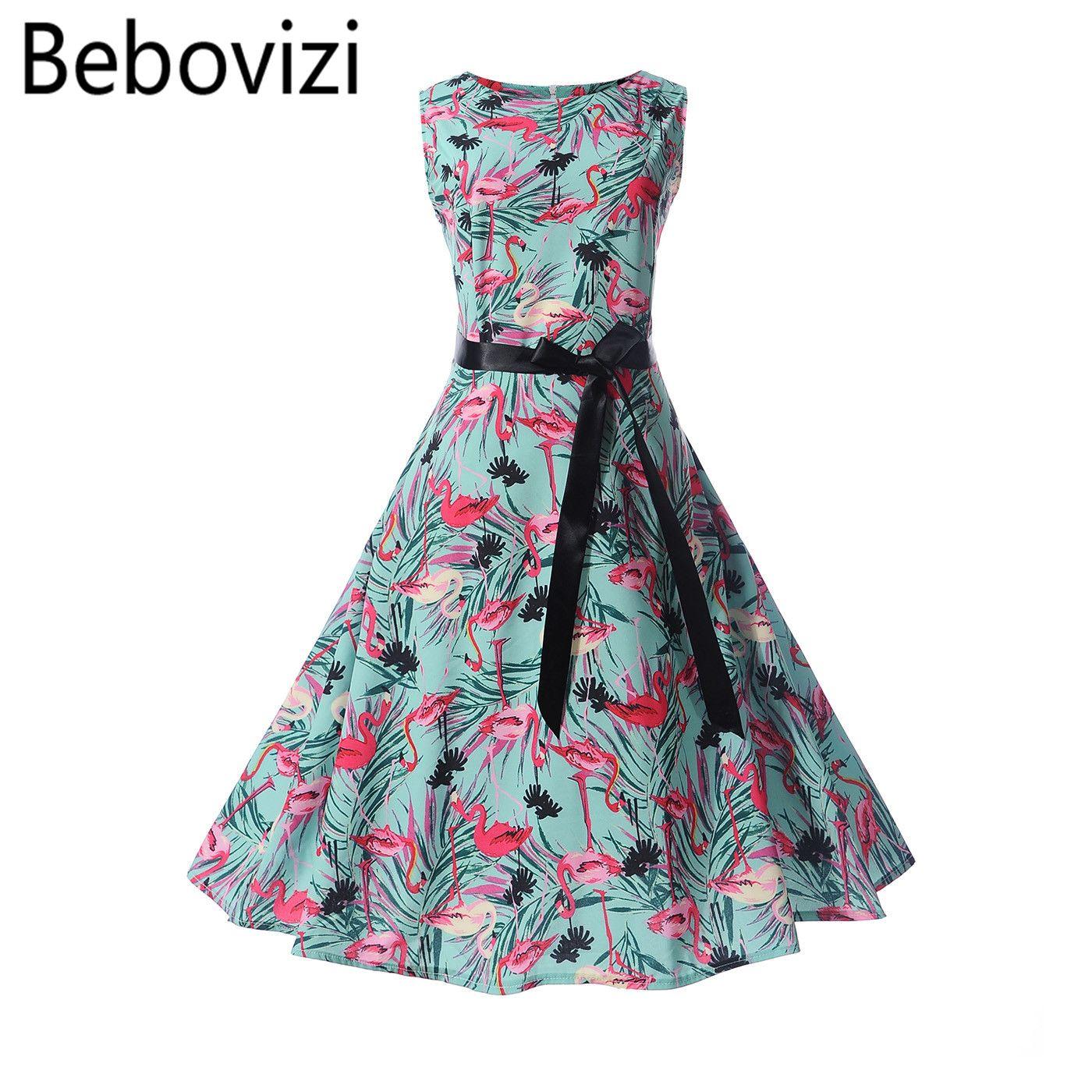 2018 Bebovizi Fashion Brand Flamingo Printing Hepburn Vintage Retro ...