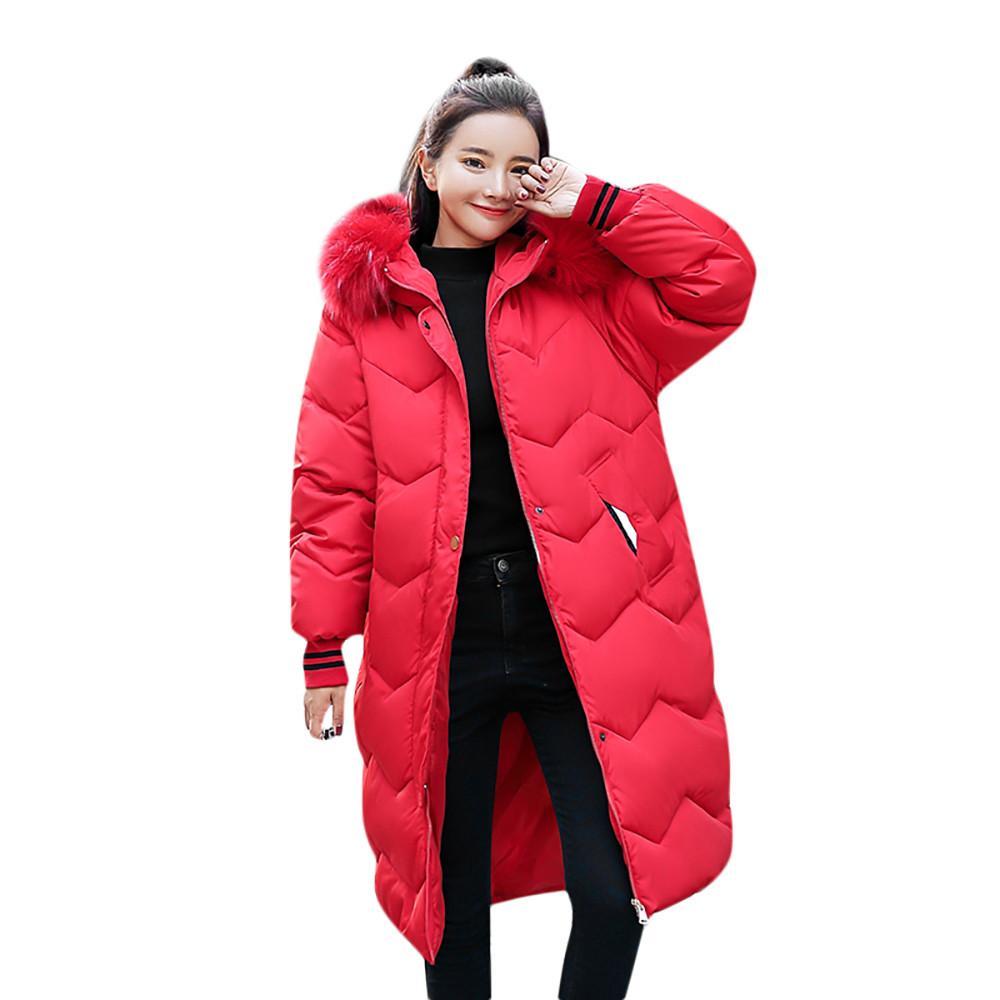 low priced 4827b 5e00c Femmes Parkas Hiver 2018 Mode Plus La Taille Rouge Longue En Fausse  Fourrure À Capuche En Coton Rembourré Zipper Chaud Parkas Femmes Manteaux  abrigos
