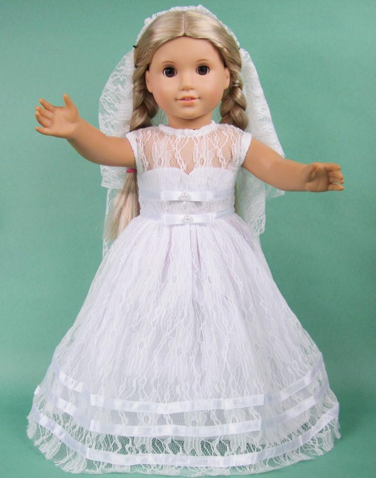 18 Inch American Girl Dolls Clothes Manually White Wedding Dresses ...