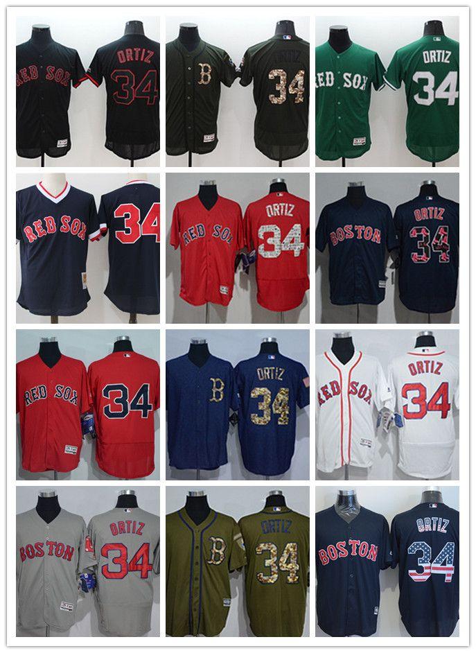 more photos c8fa2 aa14a custom Men s women youth Majestic Boston Red Sox Jersey #34 Ortiz Home Red  Grey White Kids Girls Baseball Jerseys