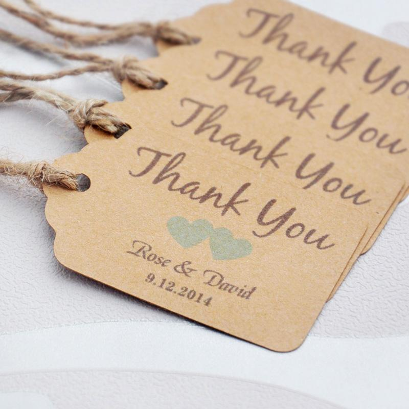 Personalized Thank You Wedding Tags With Heart You Can Choose Paper