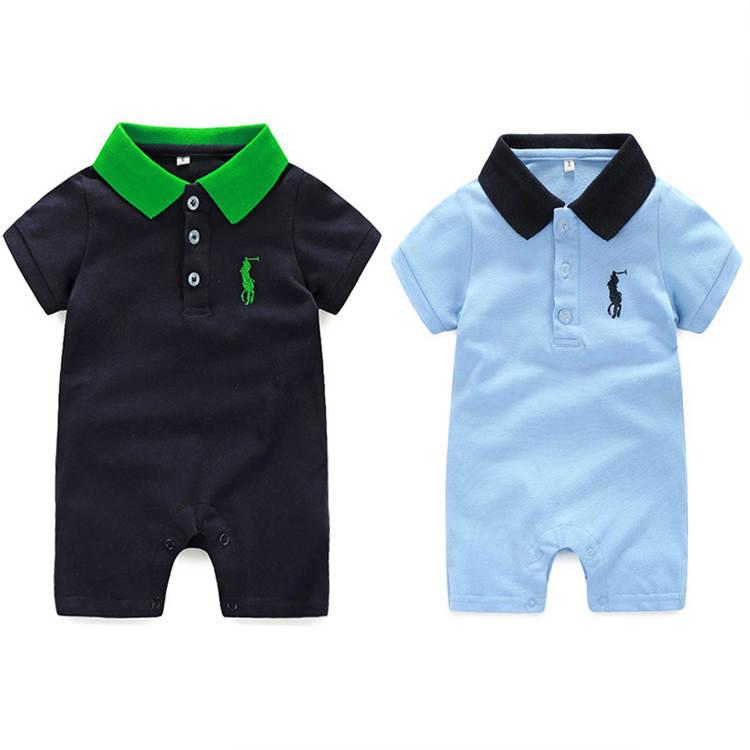 ddaff7fbf Summer Baby Boys Girls Rompers Short Sleeved Turn-down Collar Polo ...