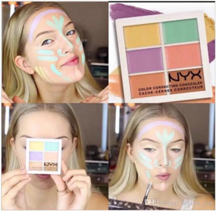 NYX 6 Cores Professional Face Contour Maquiagem Corretivo Paleta Corretivo branqueador fundação make up full cover woman cosmetic
