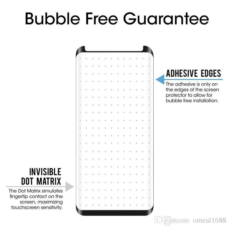 إلى Samsung S9 S9 plus كفر حماية، واقي شاشة صلب مقاوم للكسر بغطاء ثلاثي الأبعاد بالكامل لسامسونج جلاكسي نوت 8 S8 S7 مع باقة OM-99