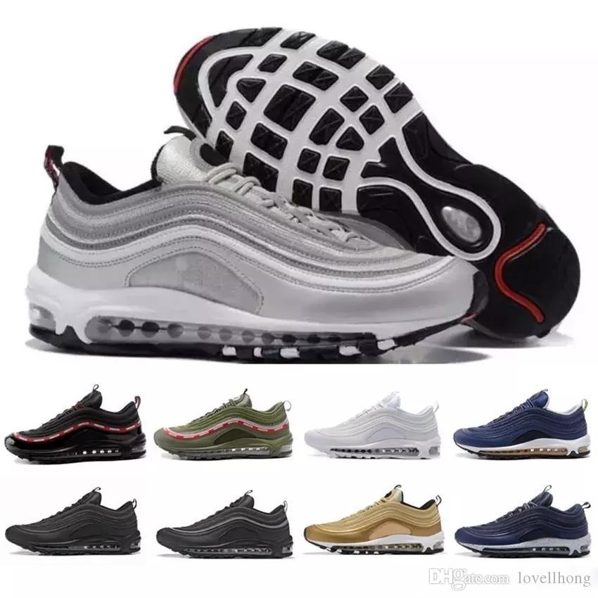 e86419683 Compre Nike Air Max 97 Airmax 97 Hombres 97 Zapatos Triple Blanco Negro  Zapatillas Para Correr 97 Og Metallic Gold Silver Bullet Zapatillas De  Deporte Para ...