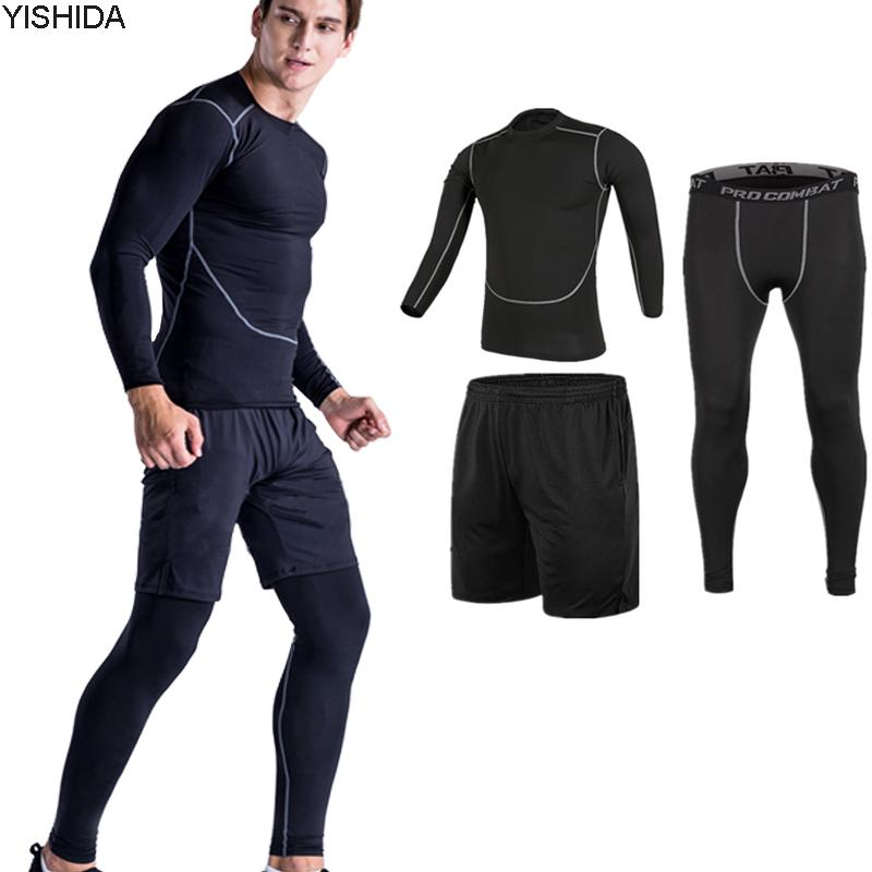 0583f6876500 Workout Gym Suits Men s Sport Suites Running Tights Fitness Training ...