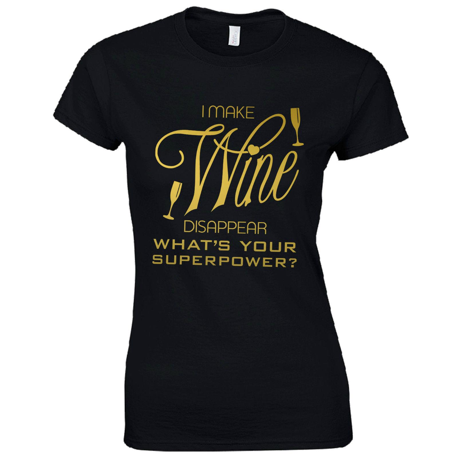 8a6d49fdd18c I Make Wine Disappear Ladies Fitted T-Shirt - Funny Superpower Gift Lady  Top Online with  13.15 Piece on Bangtidyclothing s Store