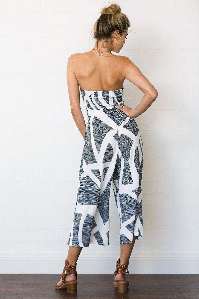 Verão Estilo Impressão Mulheres Macacão Sem Alças Sem Encosto Jumpsuits Casuais Senhoras Cintura Alta Calças Perna Larga Partido Clube Vestido DYH0523