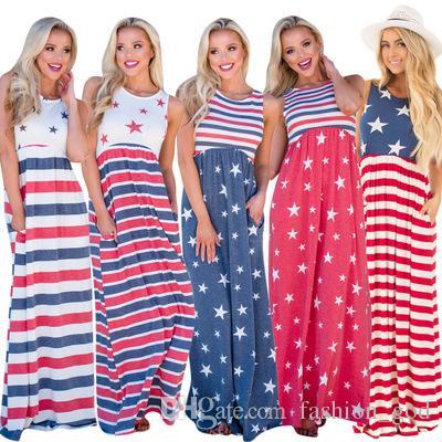 ee1f54a331b Maxi Dresses Women Stripe Print Dress Summer Sleeveless Plus Size Dress  Crew Neck Maternity Dresses Loose Long Beach Dresses YFA144 Womens Black  Dresses ...