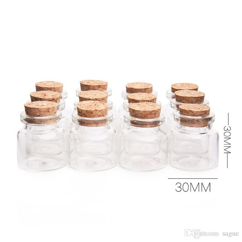Wholesale 30x30mm Glass Bottles Cork Stopper 10ml Transparent Glass