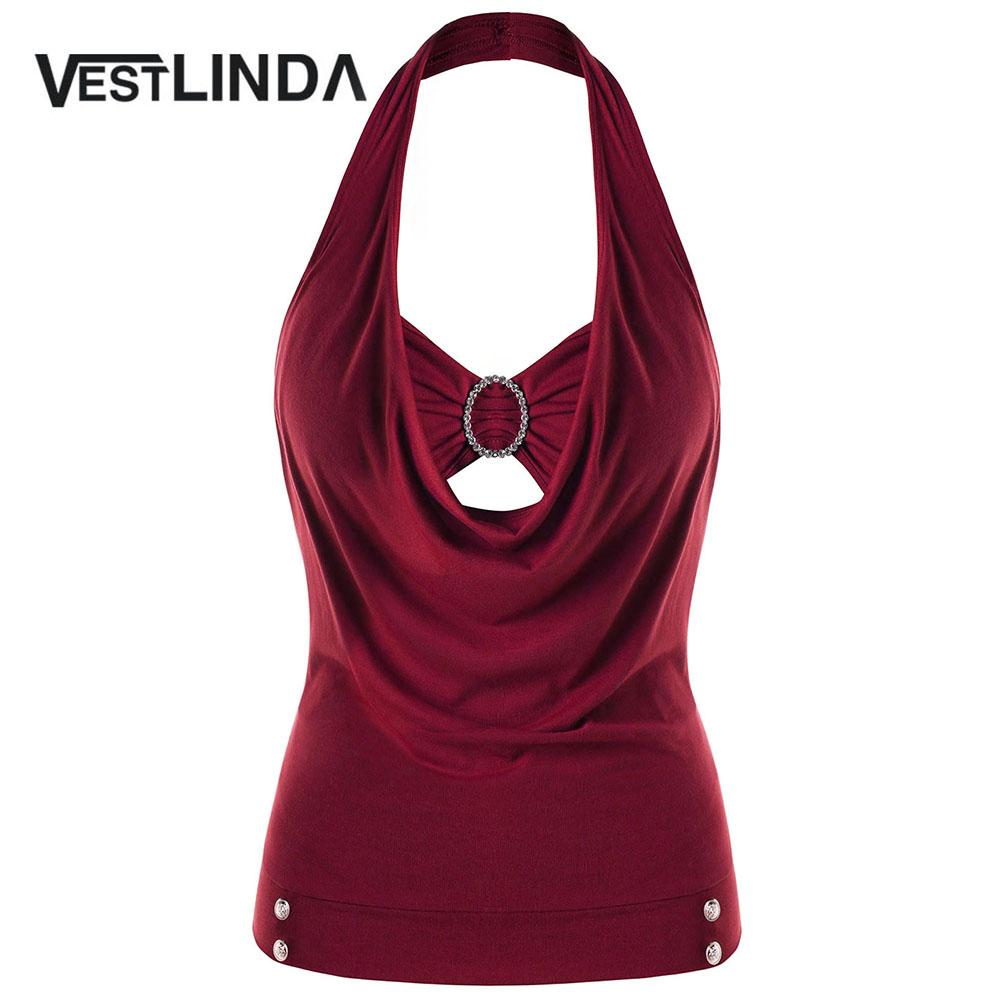 814fa0979b2 2019 VESTLINDA Plus Size Embellished Halter Tank Top Women Spring Fashion  Casual Sleeveless Button Solid Tops Big Size Women Clothing From Salom