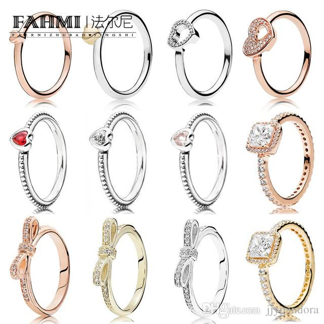 FAHMI 100% 925 Sterling Silver Heart Ring 14K Golden Rose Gold Series Shiny Bow Ring Puzzle Heart Shaped Shining heart Ring