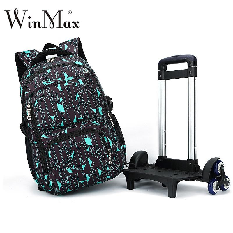 136958d86f41 Removable School Backpack Trolley 6 Wheeles Bag Strong Upstair Waterproof Wheeled  Children School Bag Fashion Boys Kids Luggage Girls Backpacks For School ...