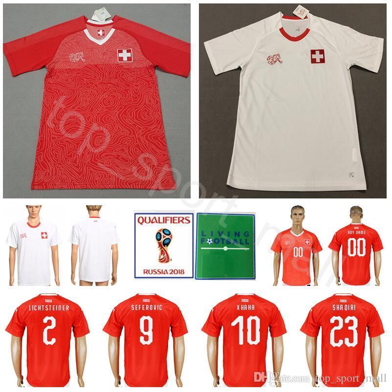 6bc0ef4b683 2018 World Cup Soccer Switzerland Jersey Men 9 SEFEROVIC 10 XHAKA ...