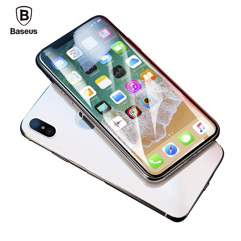 online store 96bee 8eb09 Baseus 0.3mm Screen Protector For iPhone X Tempered Glass Ultra Thin Anti  Blue Light Full Screen Front Cover For iPhone X Glass Film