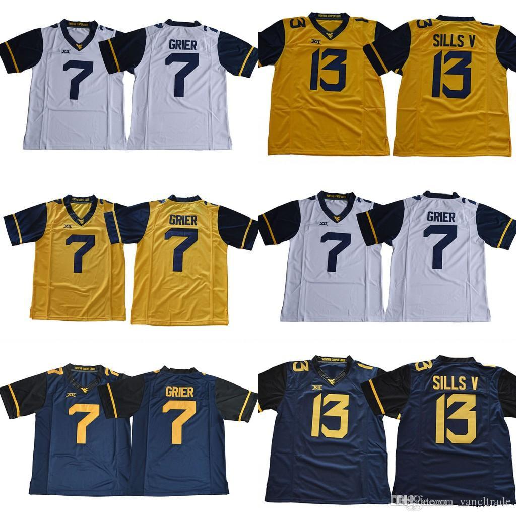 2018 New West Virginia Mountaineers WVU n ° 7 va porter le gant 13 David Sills V vierges blanc bleu jaune cousu XII Maillots de football universitaire NCAA