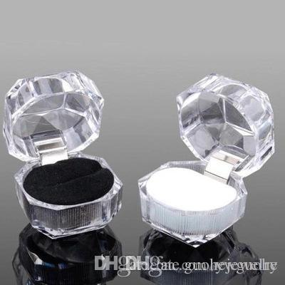 Hot Jewelry Package Boxes Ring Holder Earring Display Box Acrylic Transparent Wedding Packaging Storage Box Cases