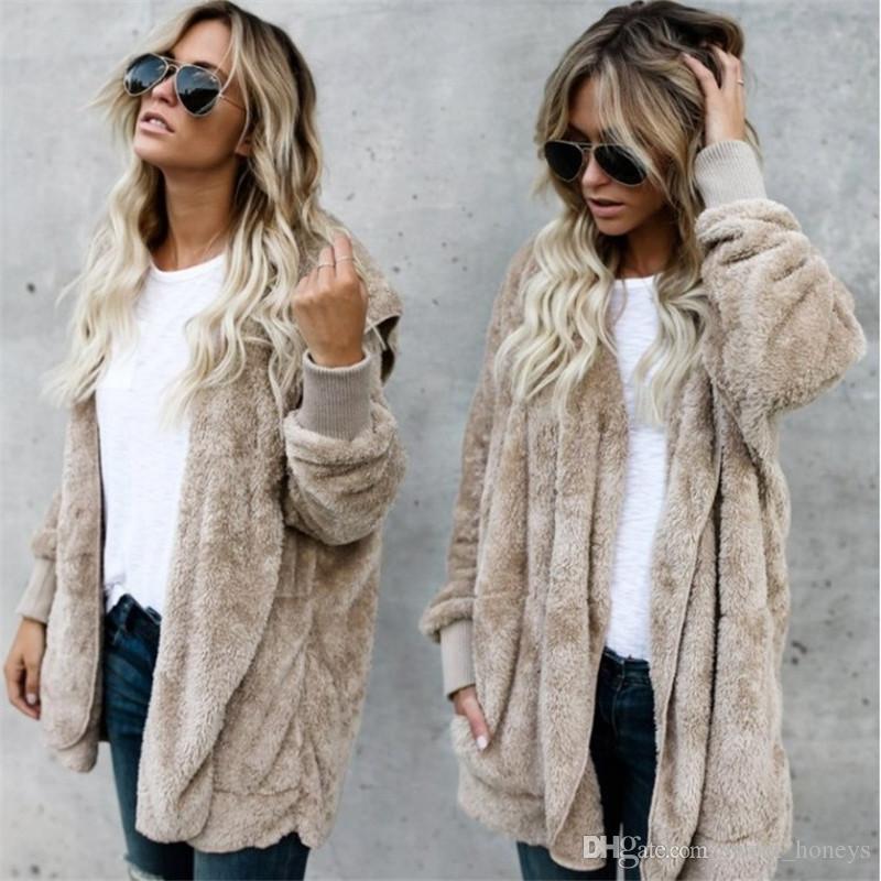 89c980250ee 5XL Women Sherpa Faux Fur Cardigan Hoodies Long Double Side Coat Tops Fall  Winter Keep Warm Soft Plush Sweatshirts Hooded Jacket Outwear Swe UK 2019  From ...