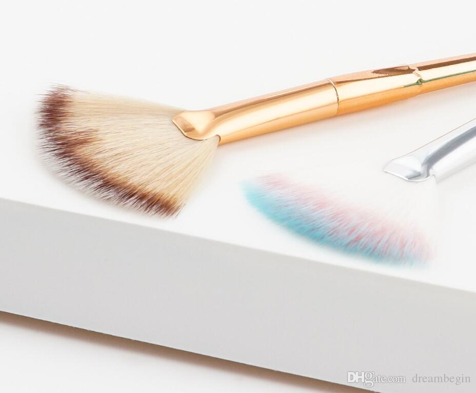 wholesale Professional Soft Small fan powder brush fiber hair professional makeup brush blush fan Cosmetic