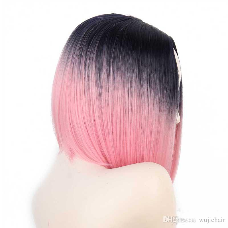 Women Heat Resistant Synthetic Short Straight Ombre Black Pink BOBO Wigs Long Natural Fiber Wave Hihg Quality Fashion For Party Cosplay