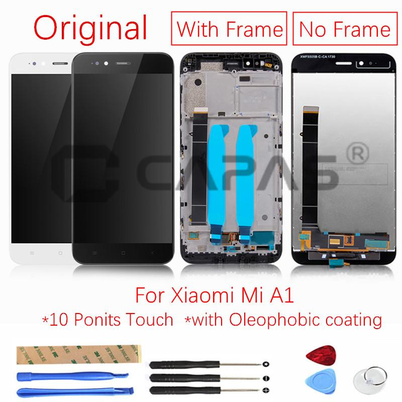 Original For Xiaomi Mi A1 LCD Display with Frame Screen Touch Panel For  Xiaomi MiA1 LCD Display Digitizer Repair Spare Parts