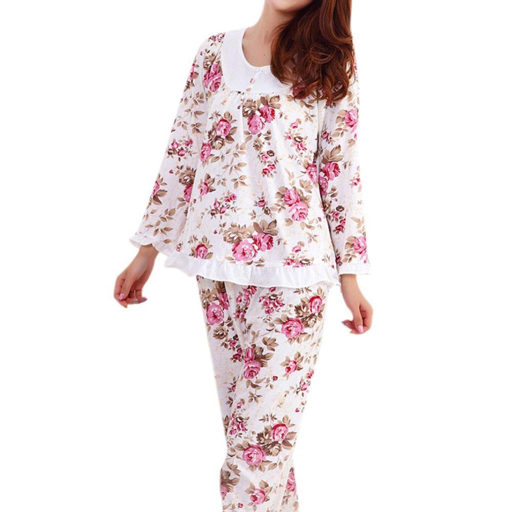 2019 Long Sleeved Ladies Pajamas Set Pyjamas For Women Pijama Mujer Floral  Print Sleepwear Homewear Nightgown Asia Tag M 3XL From Vikey13 3040158f6